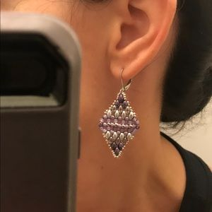 Handmade Jewelry - Purple Woven Superduo Diamond Drop Earring